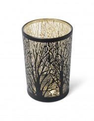 Photophore noir et or arbre 12 x 18 cm