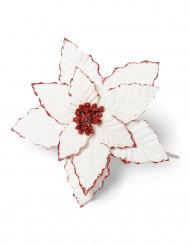 Fleur de Noël rouge pailletée 18 cm