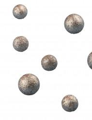 24 Boules paillettées cuivrées 2 et 2,5cm