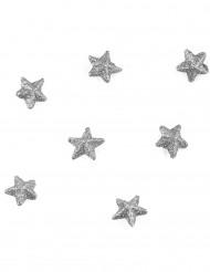 70 Confettils étoiles paillettées argent 2 cm