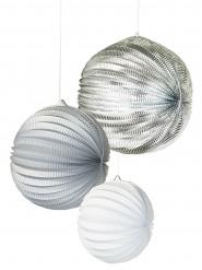 3 Lanternes en papier blanches et argent