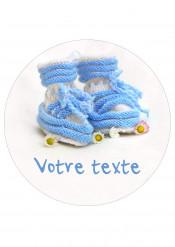 Disque en sucre personnalisable bébé bleu 20 cm