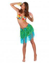 Jupe hawaïenne courte verte et bleue avec fleurs adulte