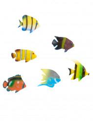 Décorations 6 poissons tropicaux 6 cm