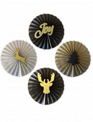 4 Rosaces noir et or Noël 36 cm