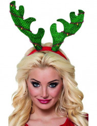 Serre tête renne vert adulte Noël