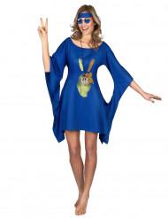 Déguisement robe hippie bleue peace & love femme