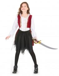 Déguisement pirate velours rouge pourpre et tutu noir fille