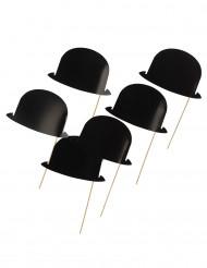 Kit Photobooth 6 chapeaux melons noirs