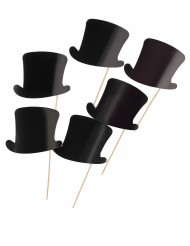 Kit photobooth 6 chapeaux haut de forme noirs