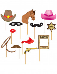 Kit photobooth 12 pièces Cowboy