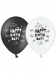 Ballons Happy Birthday noir et blanc 30 cm