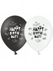 Ballons Happy Birthday noir et blanc 30 cm