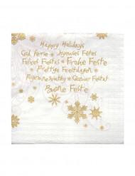 20 Petites serviettes en papier Joyeuses fêtes 24 x 24 cm