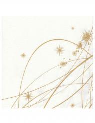 12 Serviettes en papier intissé Premium Etoiles dorées 40 x 40 cm
