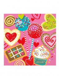 16 Serviettes en papier Coeurs gourmands 33 x 33 cm