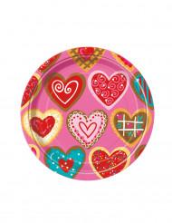 8 Petites assiettes en carton Coeurs gourmands 17 cm