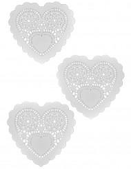 12 Napperons blancs Coeurs 25 cm
