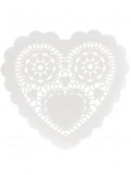 12 Napperons Coeurs en papier 25 cm