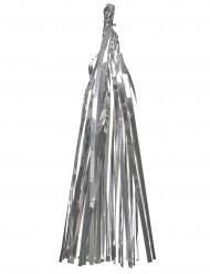 Guirlande tassel 12 pompons argentés métallisés