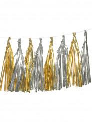 Guirlande tassel 12 pompons dorés et argentées métallisés
