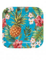 8 Petites assiettes en carton Tropics 17 cm