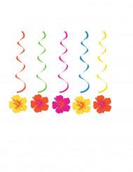 5 Suspensions spirales fleurs Hawaïennes