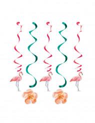 5 Décorations à suspendre spirales Flamants roses