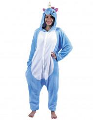 Déguisement kigurumi licorne bleue adulte