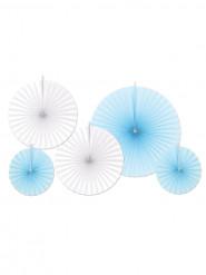 5 Rosaces en papier bleues et blanches
