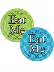 8 Assiettes en carton vert et bleu Alice au pays imaginaire 23 cm