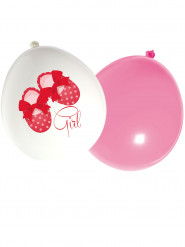 16 Ballons latex roses et blancs Welcome Girl