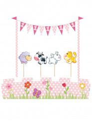 Kit de décoration pour gâteau Animaux 1 an fille