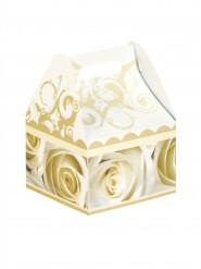 6 Petites boîtes en carton roses blanches