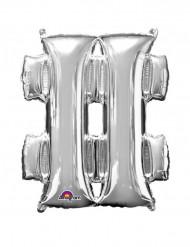 Ballon aluminium géant Symbole # argent 68 x 83 cm