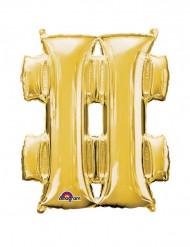 Ballon aluminium géant Symbole # or 68 x 83 cm
