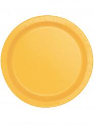 8 Assiettes en carton jaune tournesol en carton 22 cm