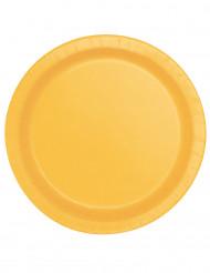 16 Assiettes jaune tournesol en carton 22 cm