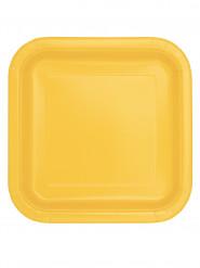 16 Petites assiettes carrées jaune tournesol en carton 17 cm