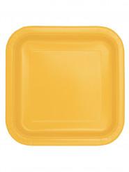 14 Assiettes carrées jaune tournesol en carton 22 cm