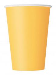 10 Gobelets jaune tournesol en carton 355 ml