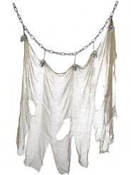 Décoration à suspendre chaine et drap crânes 140 X 100 cm Halloween