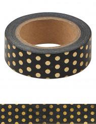 Washi tape noir à pois dorés 10 m