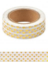 Washi tape blanc mini cœurs doré 10 m