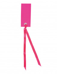 12 Marque-places rectangle avec ruban fuchsia