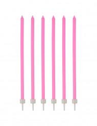 16 Grandes bougies d'anniversaire roses 12 cm