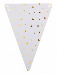 5 Fanions en carton blanc et triangles or