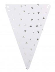 5 Fanions en carton blanc et triangles argent