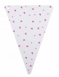 5 Fanions en carton blancs triangles fuchsia
