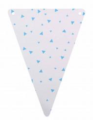 5 Fanions en carton blanc et triangles turquoise